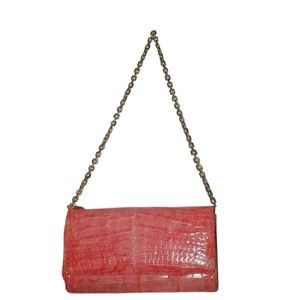 Judith Leiber With Chain Pink Crocodile Leather